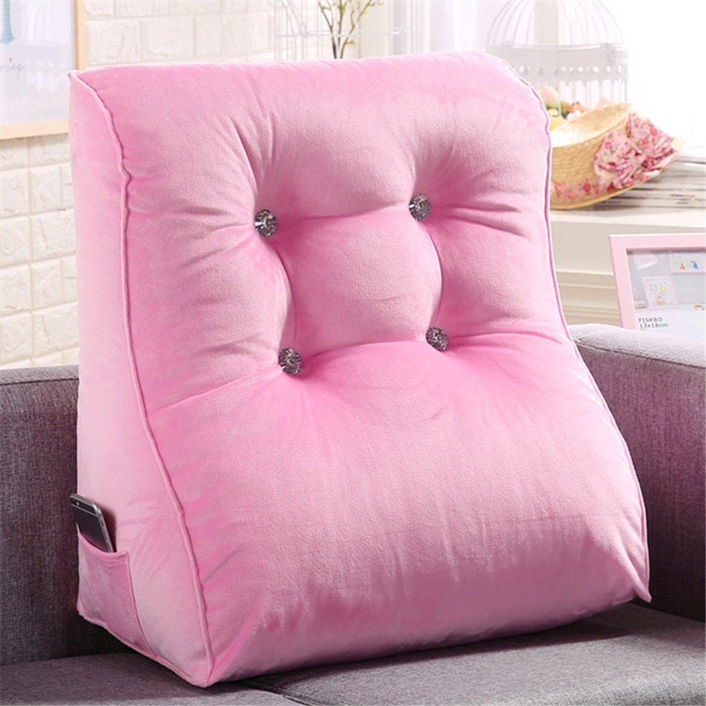 LIXIONG Triangle Cotton Headboard Cushion Office Sofa Back Cushions Neck Protection Pillow Floating Window backrest Soft Package (Color : Gouache, Size : 4555cm)