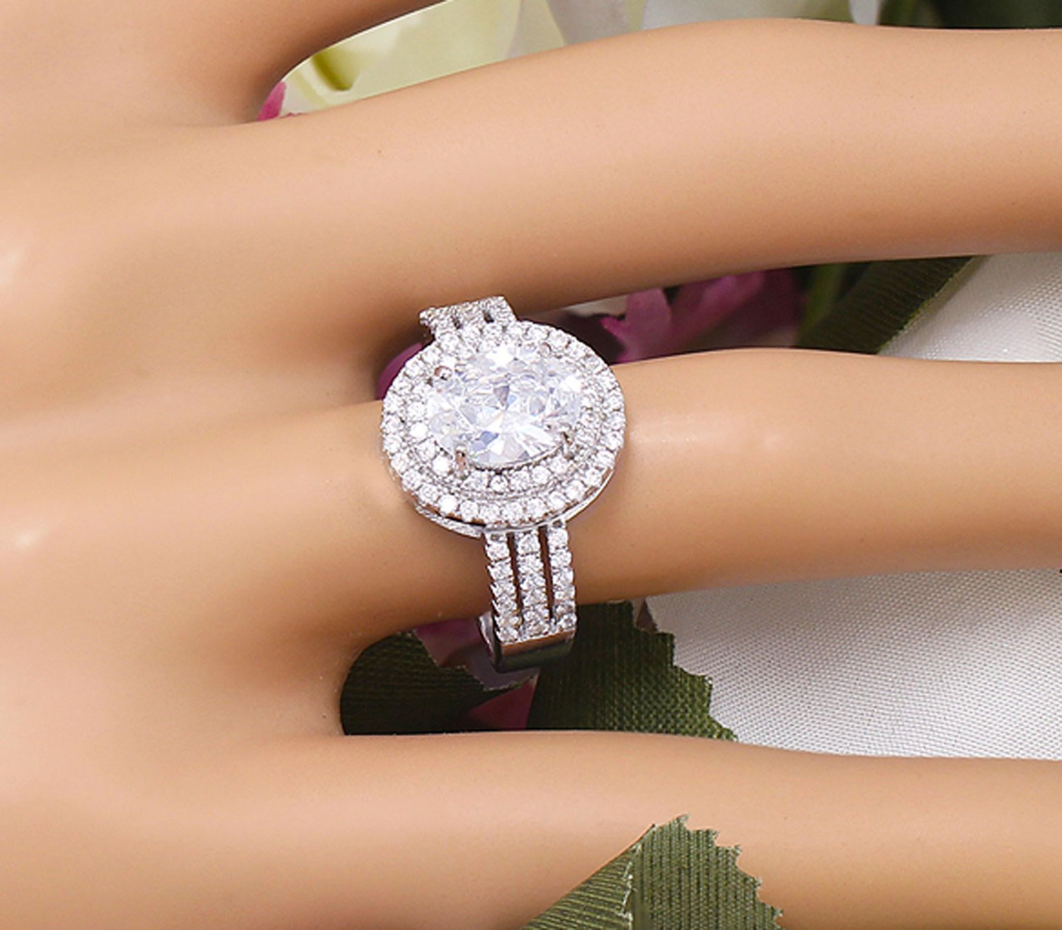 2.00 Ct Forever One Brilliant Cut Diamond Engagement Ring 14k White Gold Over