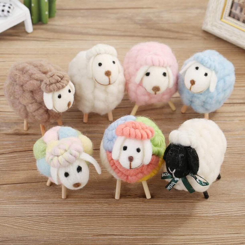 WellieSTR 7 Stlye Wool Felt Christmas Sheep Figurine Miniature Figurines Ornaments Home Decoration Accessories Toys Dolls Kawaii Plush Toys
