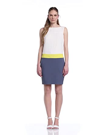 MEXX METROPOLITAN Damen Kleid, -2in1ColourBlock(Woven)-14CT183, 40 (Herstellergröße: 40), Blau (Mirage Blue)