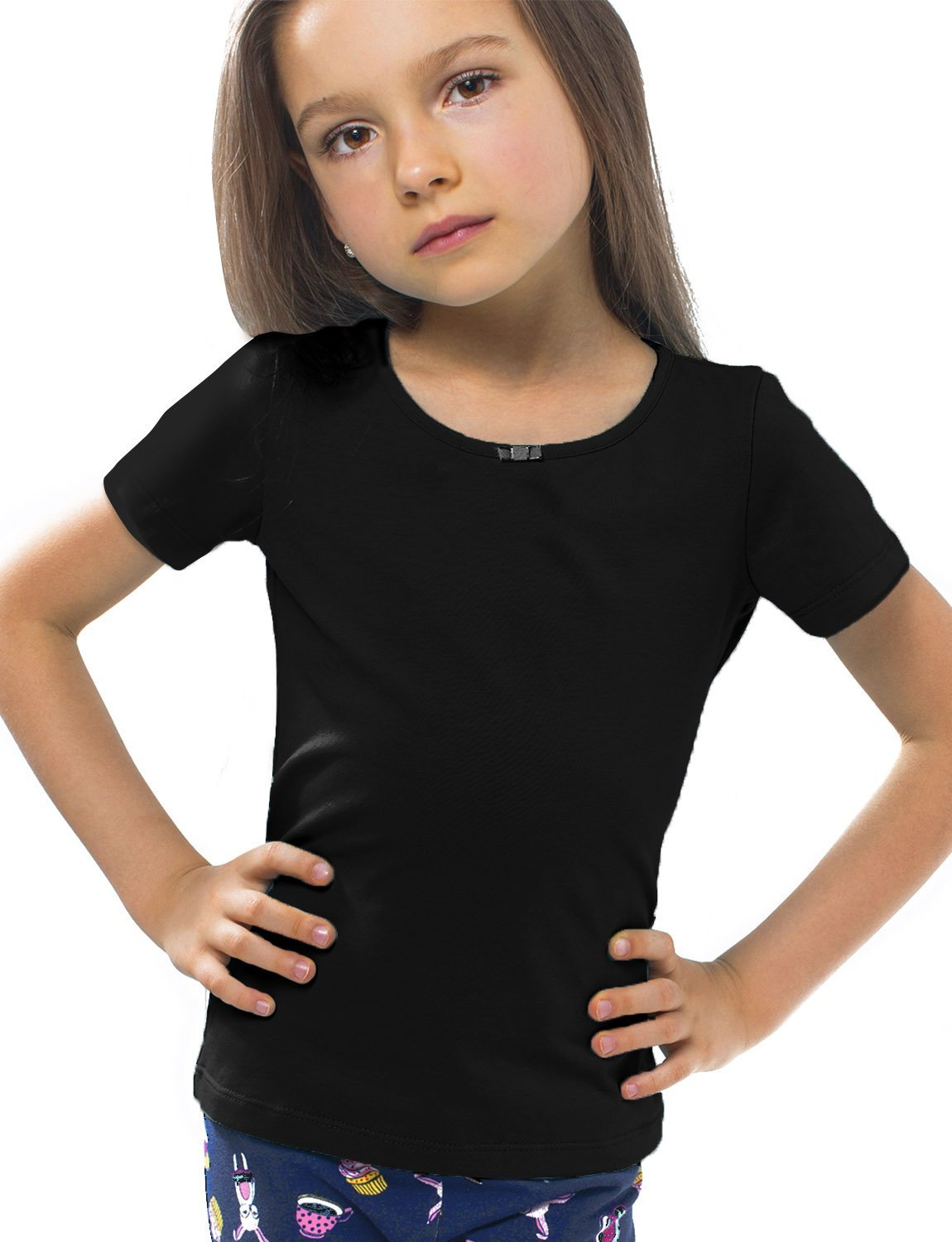 Petite Amelia Little Girls Short Sleeve Bow Top, Size 7, Black