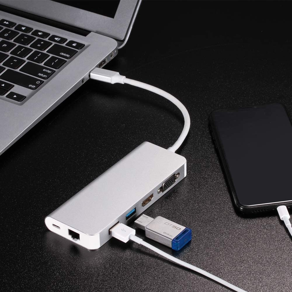 Color : Black USB 3.0 Hubs 6 in 1 Type C Hub Type-C to HDMI VGA RJ45 Dual USB3.0 PD Charging Port Adapter Cable Converter for Laptop MacBook