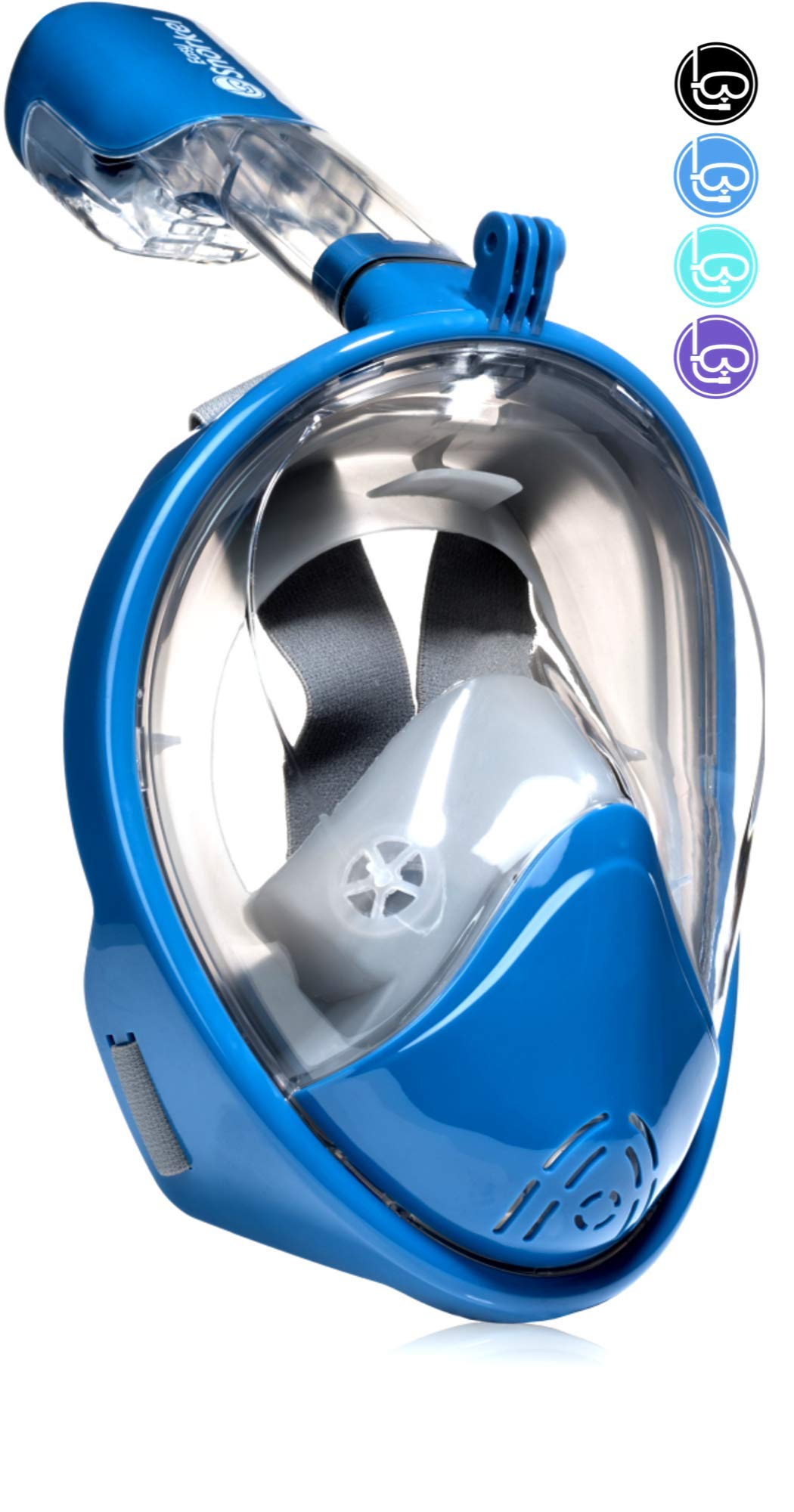 PRODIGY Full Face Snorkel Mask Kids Adult - 180 Snorkeling Gear for Adults - SWIMTECH Hydro Dry Water Lungs Diving Mask Set - with GoPro Mount (Blue/Grey - Small/Medium) by Easy Snorkel