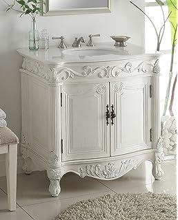 Superb 32u201d Traditional Style Fiesta Bathroom Sink Vanity Cabinet CF 2873W AW