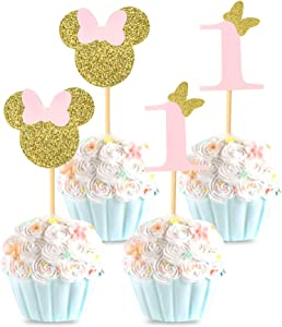 Unimall Pack of 24 Minnie Mouse Inspired 1st Birthday Party Cupcake Picks - Pink and Gold Glitter Baby Girl Cupcake Toppers Food Picks Baby Shower Party Decoration Supply