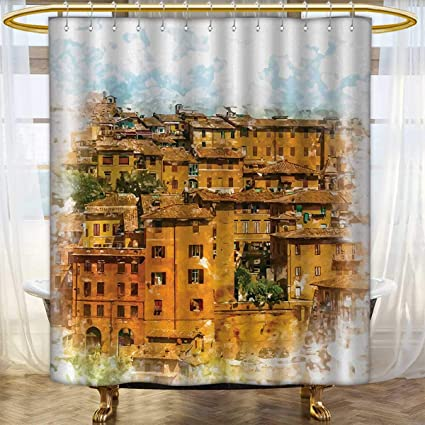 Italian Shower Curtains Sets Bathroom Faded Historic Photo Town With Old Traditional Authentic Buildings Retro