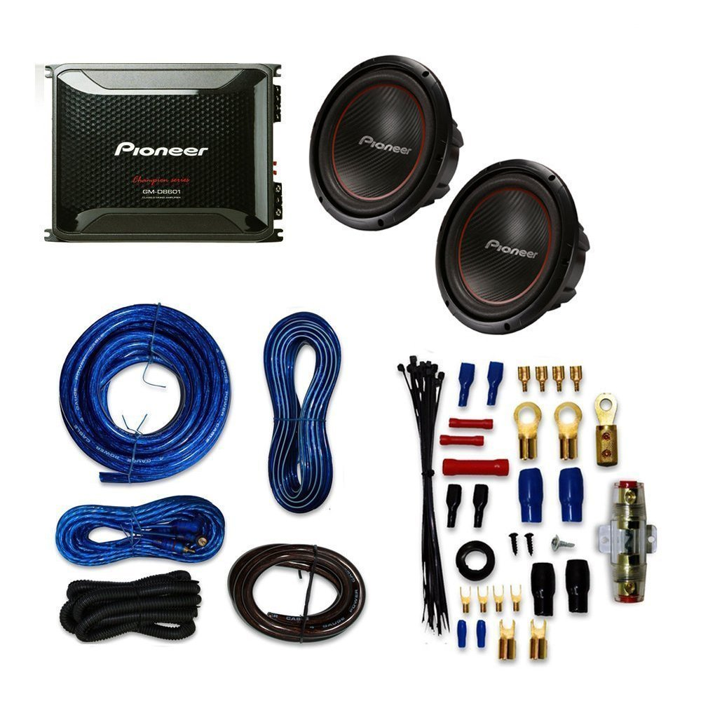 Pioneer Tsw304r Subwoofer 12 4 Ohm With Gm Single Dual Voice Coil Woofer 2 Coils Wired In D8601 Mono Amplifier 800 Watts Rms At 1 And Wiring Kit Car