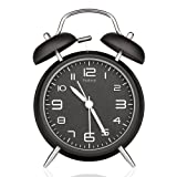 """Peakeep 4"""" Twin Bell Alarm Clock with Stereoscopic Dial, Backlight, Battery Operated Loud Alarm Clock (Black)"""