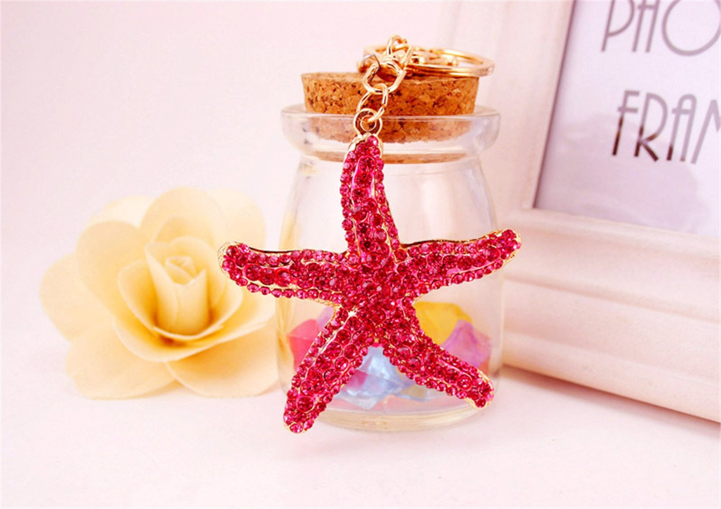 Sea Star Star Fish Crystal Rhinestone Keyring Car Handbag Pendant Charm Key Chain Gift Blue