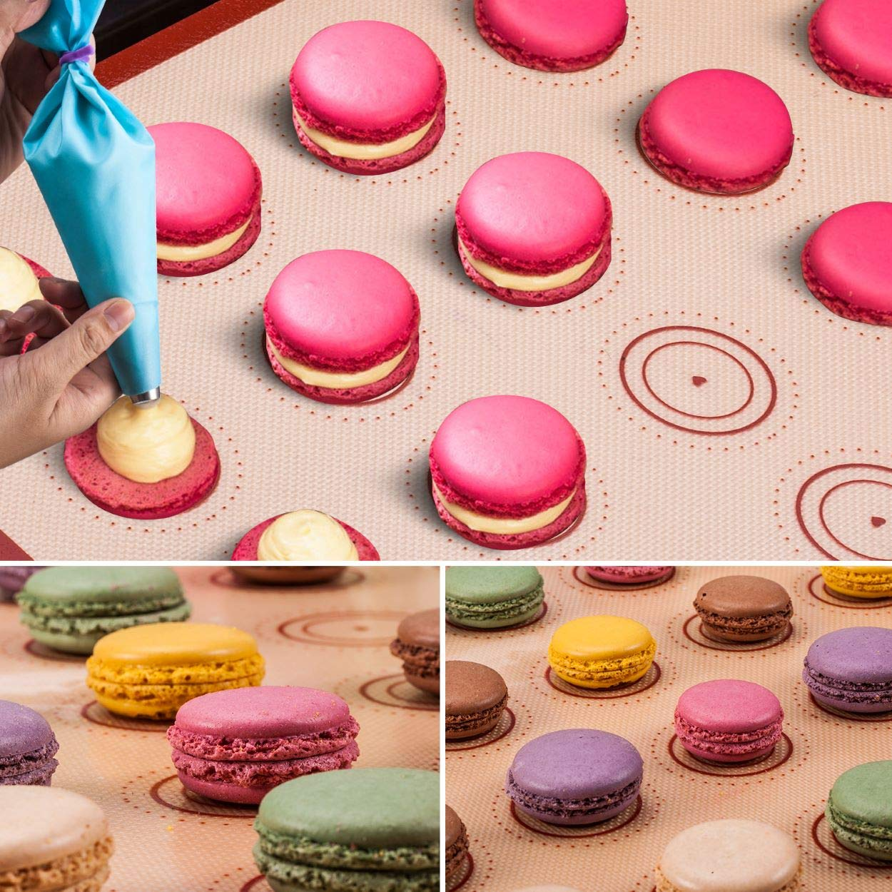 Silicone Baking Mat Macaron Mat Kit(14pcs set) Macaroon Baking Mat Set of 2 Half Sheet Macaron Silicone Mat Nonstick Macaron Mat Sheet,6 Piping Tip,2 Piping Bag with 2 Bag Tie,1 coupler (11.6''x16.5'') by Angadona (Image #9)