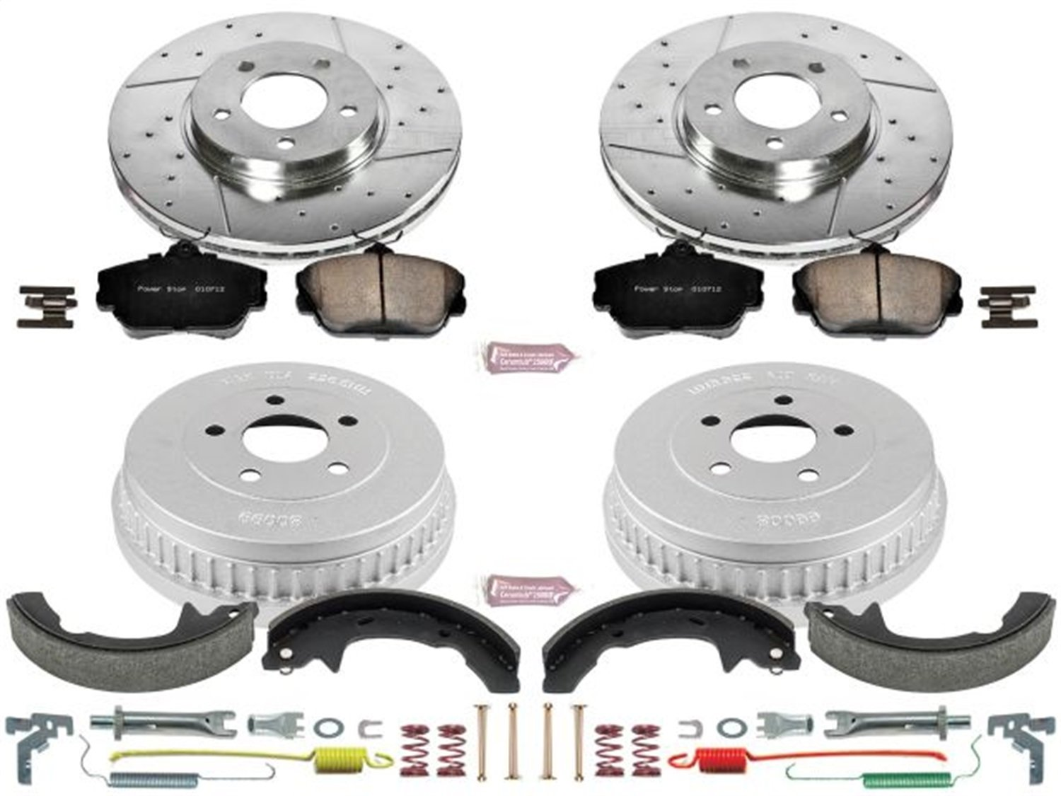 Power Stop Front /& Rear K15102DK Performance Pad Rotor Drum and Shoe Kits
