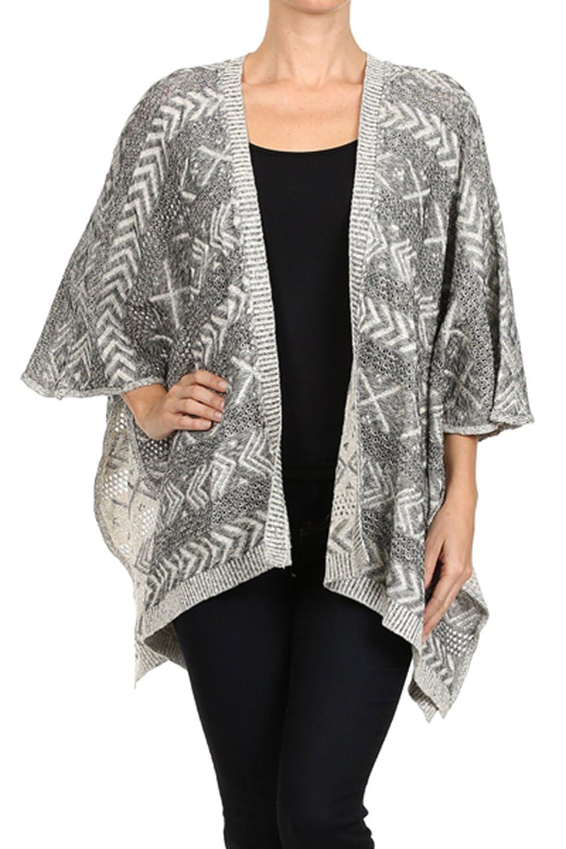 Vialumi Women's Juniors Kimono Sleeve Aztec Print Cardigan Grey