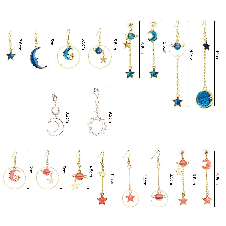 Amazon.com: 9 pares de aretes de luna con forma de estrella ...