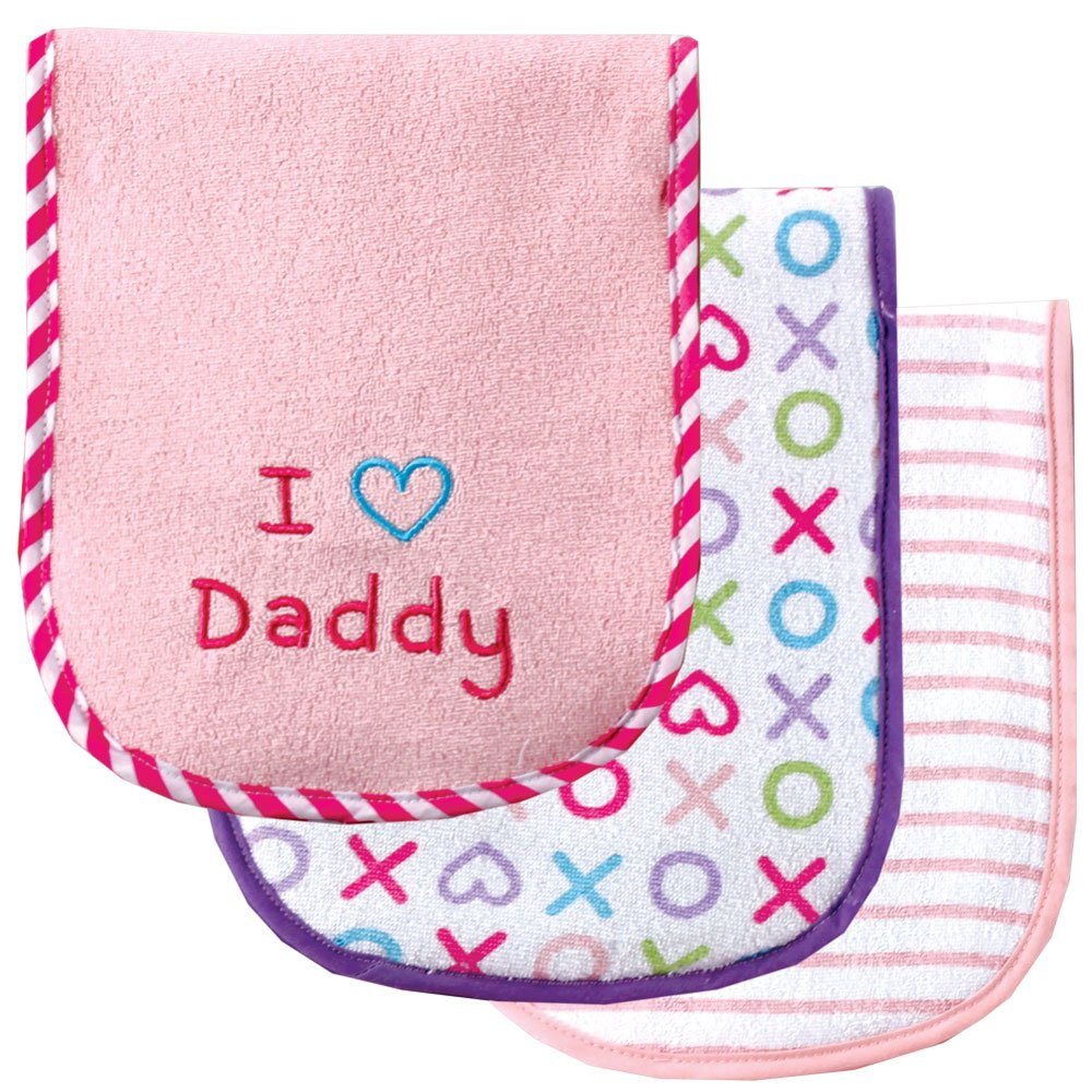 amazoncom luvable friends i love mommy and daddy baby burp cloths pink daddy 3count baby
