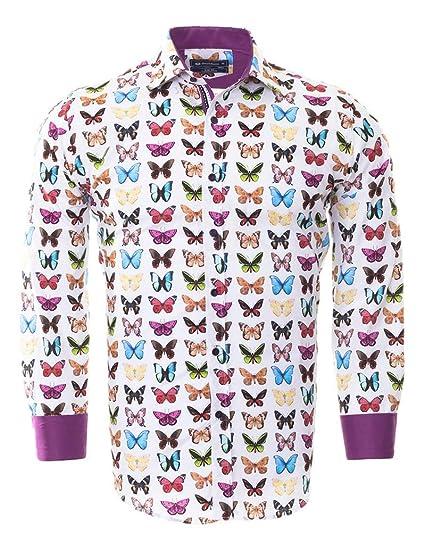1adbbdeaacd Makrom Oscar Banks Men s Shirt Butterfly Print (L)  Amazon.co.uk ...