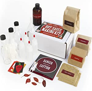 Deluxe Hot Sauce Kit (Ghost Peppers 5X!!!) Featuring Heirloom Peppers From 5th Generation Farmers, A Full Set Of Recipes, Storing Bottles & More! (Deluxe)
