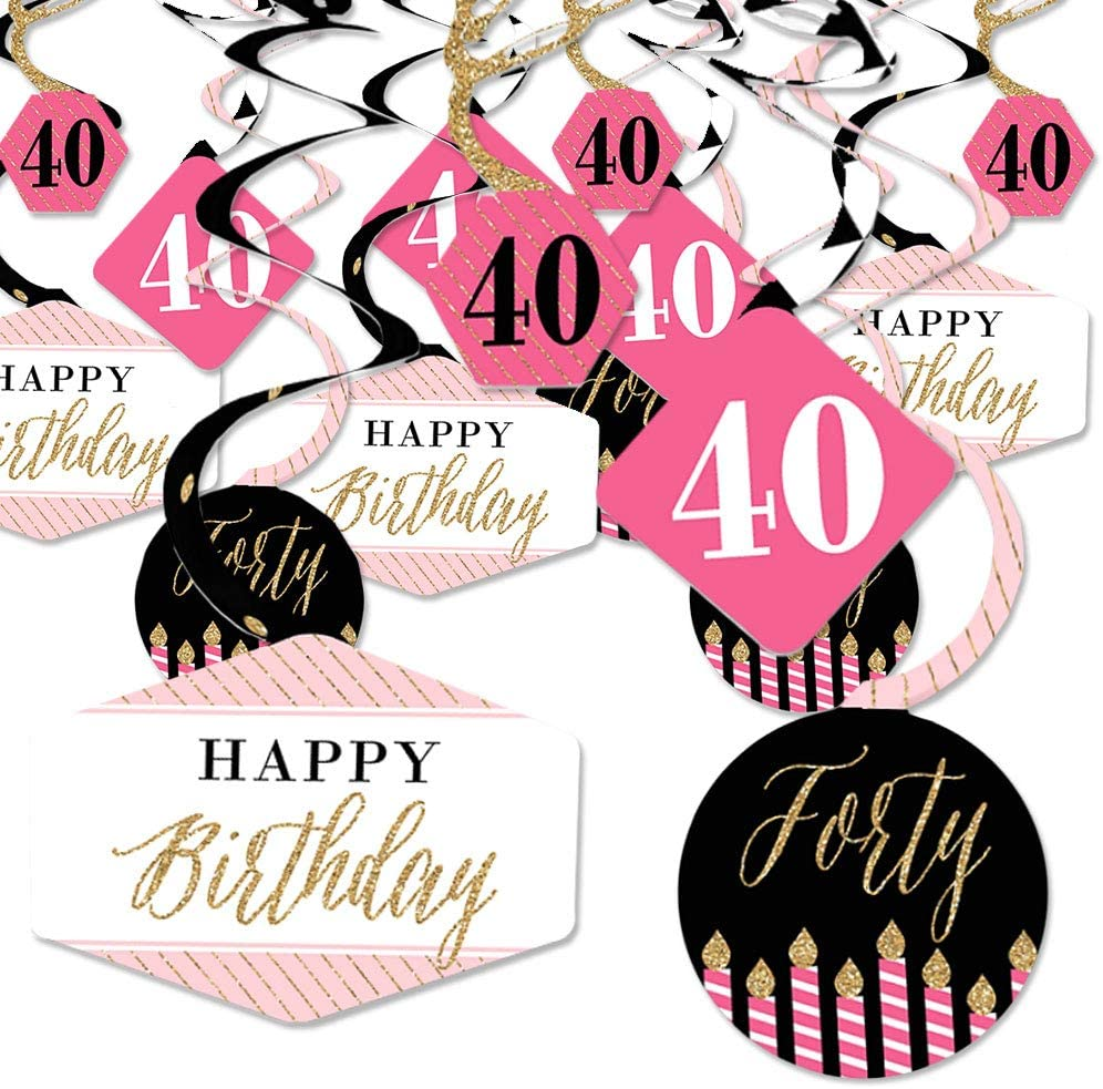 Craft Tags for a Birthday Party Chic 40th Birthday \u2013 Pink and Gold Party Tags Set of 20