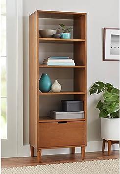 Amazon Com Bhg Flynn Mid Century Modern Bookcase With Drawer Pecan Furniture Decor