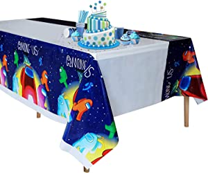 Among Us Tablecloth,Disposable Plastic Table Cover for Among Us Party,Birthday,Music Party Decoration Supplies 70x42 Inch(1 Pack) Preferences
