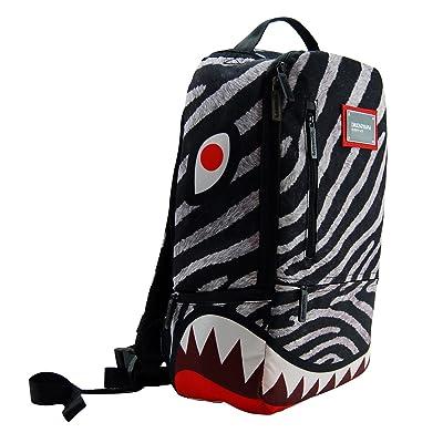good DSOS Stylish Grey Red White Shark Theme Shoulder Student School Bag, Boys Zebra Stripe Sharks Face Themed Travel Laptop Backpack