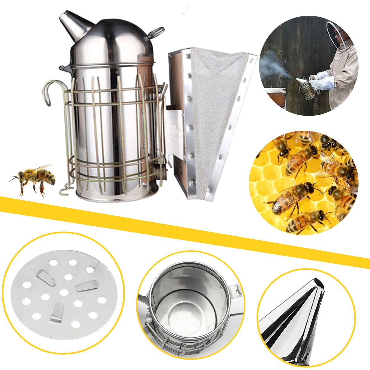 Janolia Beehive Smoker, Stainless Steel Heat Shield Beekeeping Equipment, Bees Smoking Calming Tools for Beekeeping Apiculture, Bee Culture silver 10.6 x 4.09in