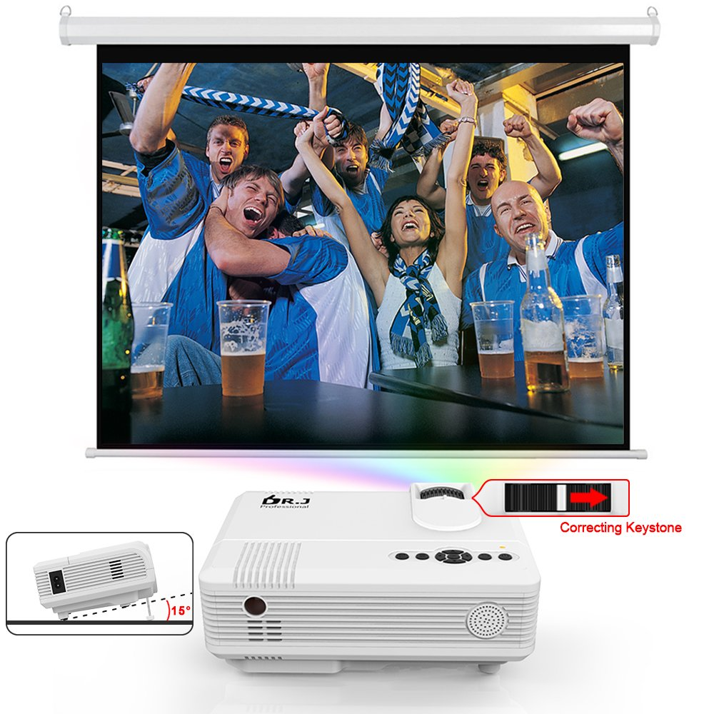 DR. J Professional 3800L Full HD 1080P Portable Video Projector Supported Mini Projector [Native 1280x720], TV Stick, HDMI, VGA, USB, TF, AV, Sound Bar, Video Games Compatible Latest Upgrade