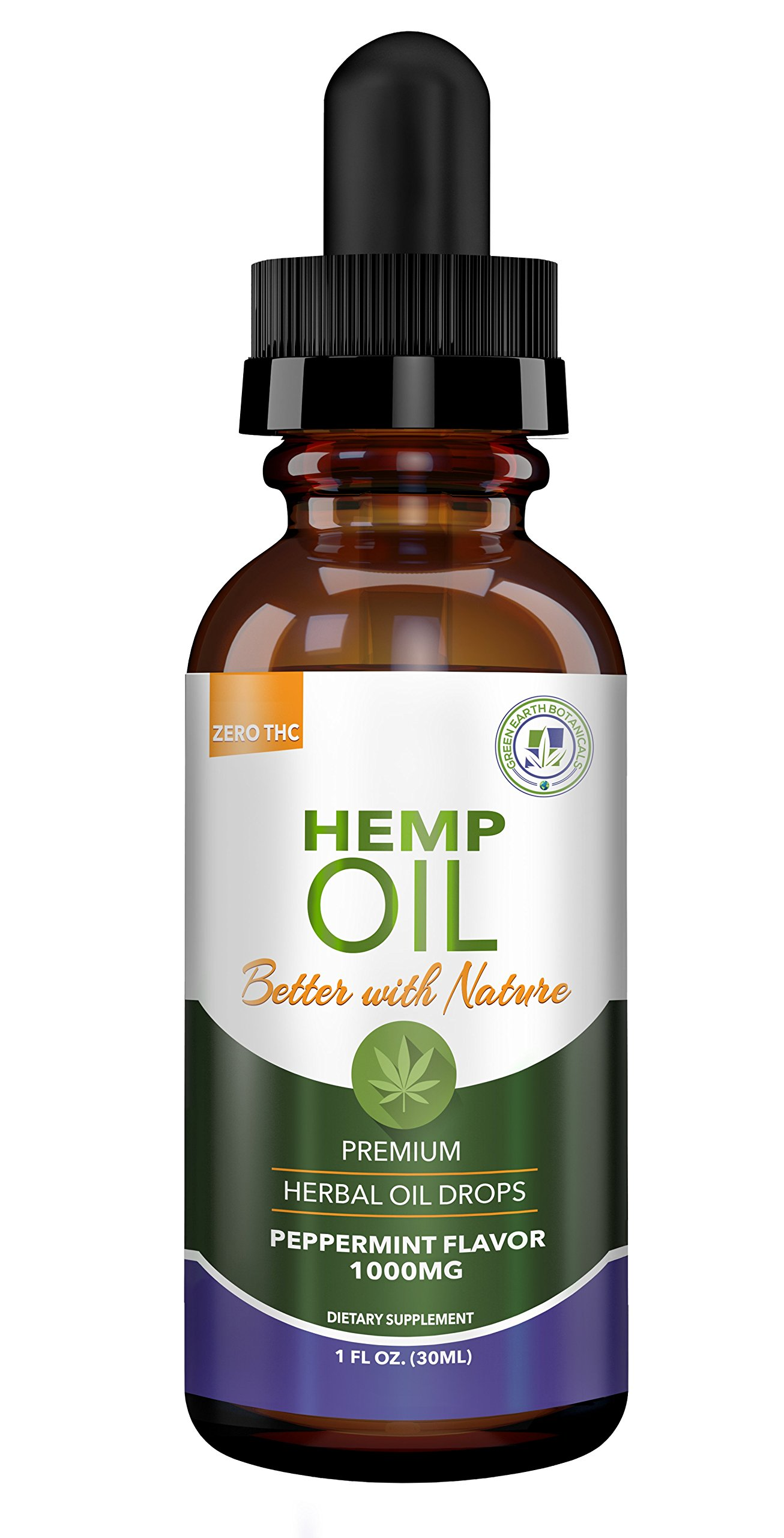 Hemp Oil 1000mg for Fast Pain Relief :: Anxiety, Inflammation, Sleep, Nausea, Depression :: Premium Herbal Drops :: MCT Oil Packed with Omega 3,6 Fatty Acids :: Better with Nature 30 Day Supply