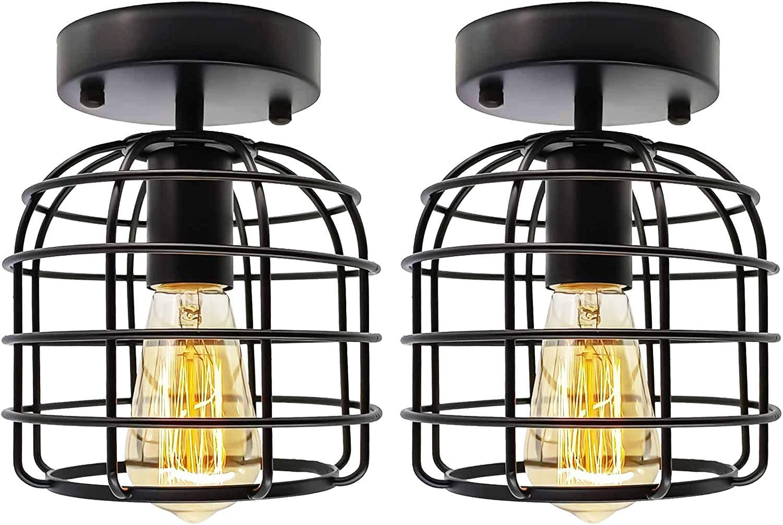 Vintage Industrial Semi-Flush Mount Ceiling Light, E26 E27 Retro Metal Pendant Light Ceiling Light Fixture for Hallway Stairway Bedroom Kitchen Home Lighting (2 Pack)