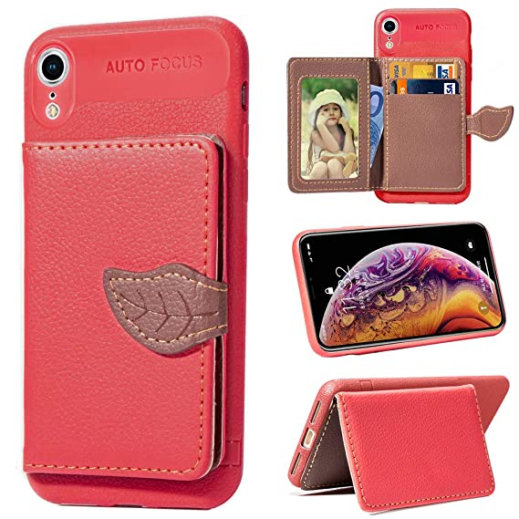 quality design 40d74 9f969 Amazon.com: iPhone XR Wallet Case, iPhone XR Card Holder Case ...