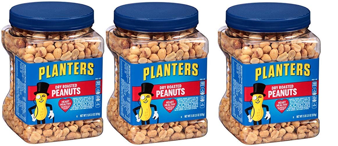 Planters Dry Roasted Peanuts, 34.5 Ounce Container, 9 Tubs