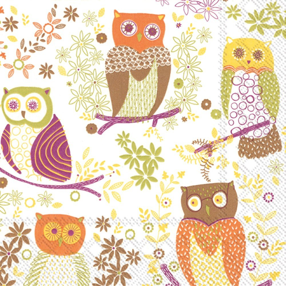 Ideal Home Range Lunch Napkins, Jolly Owls Light Brown