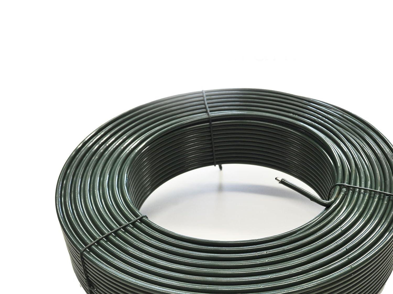 /Ø 3,8 mm stark PVC-Mantel gr/ün Drahtkern /Ø 2,6 mm inkl Zaun-Nagel Spanndraht 110 m Ring