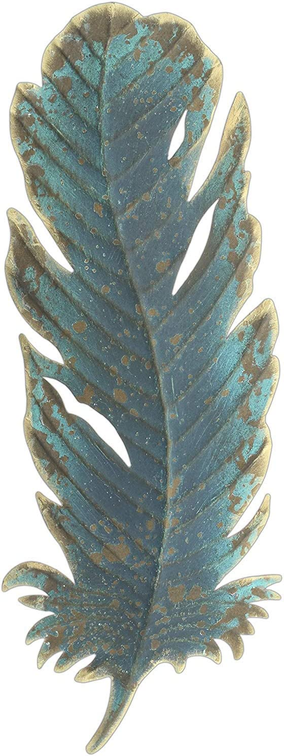 """Midwest CBK 15"""" Patina Metal Feather Wall Decor"""