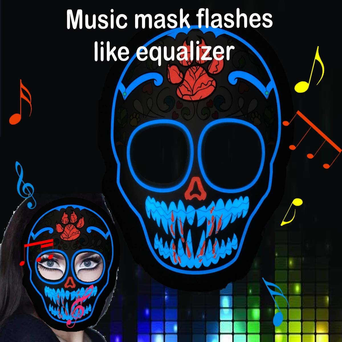ShineWorld Music LED Party Mask with Sound Active for Dancing Riding Skating Party and Any Festival
