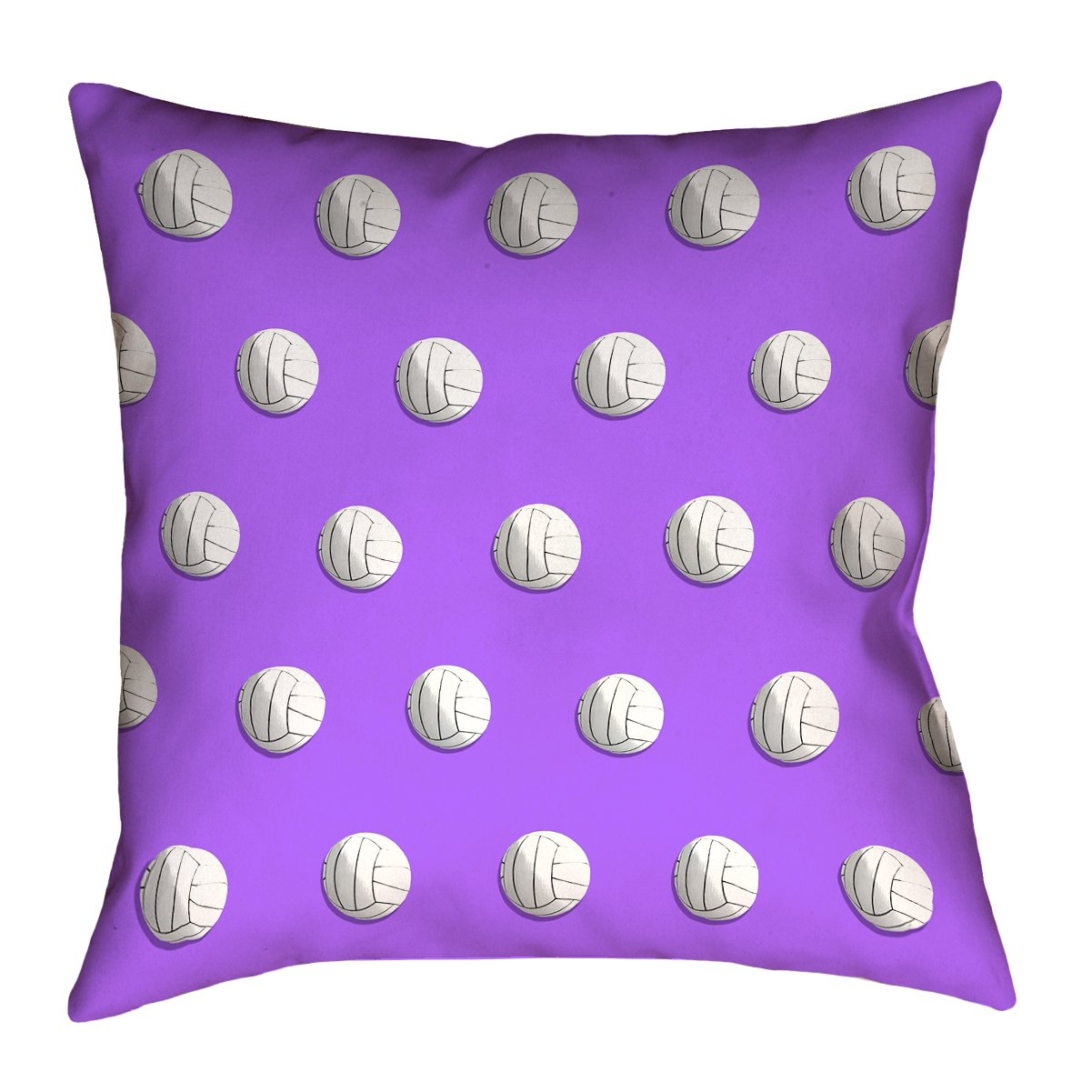 ArtVerse Katelyn Smith 26 x 26 Cotton Twill Double Sided Print with Concealed Zipper /& Insert Purple Volleyball Pillow