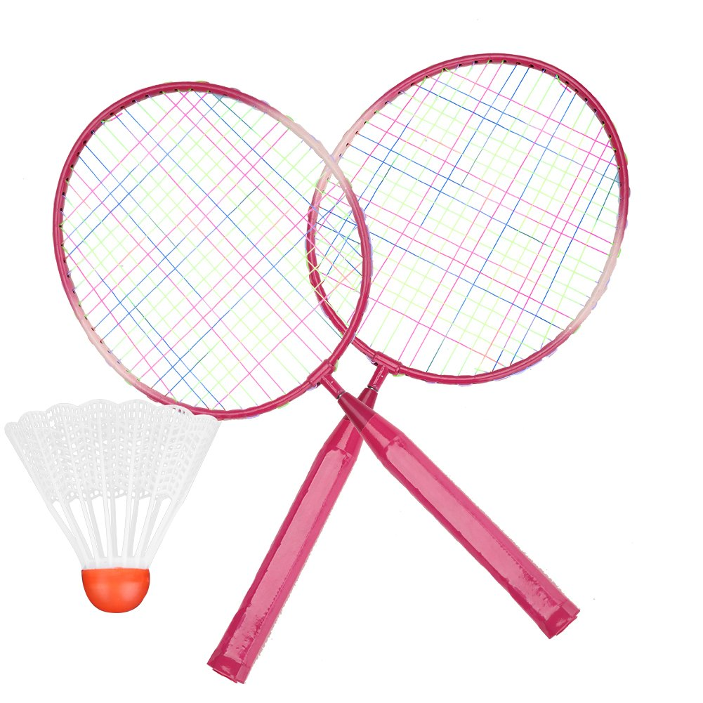 2 Players Badminton Racket Ball, Portable Colored Plaid Durable Nylon Alloy Badminton Racquet 3 Balls for Children Training (Red)