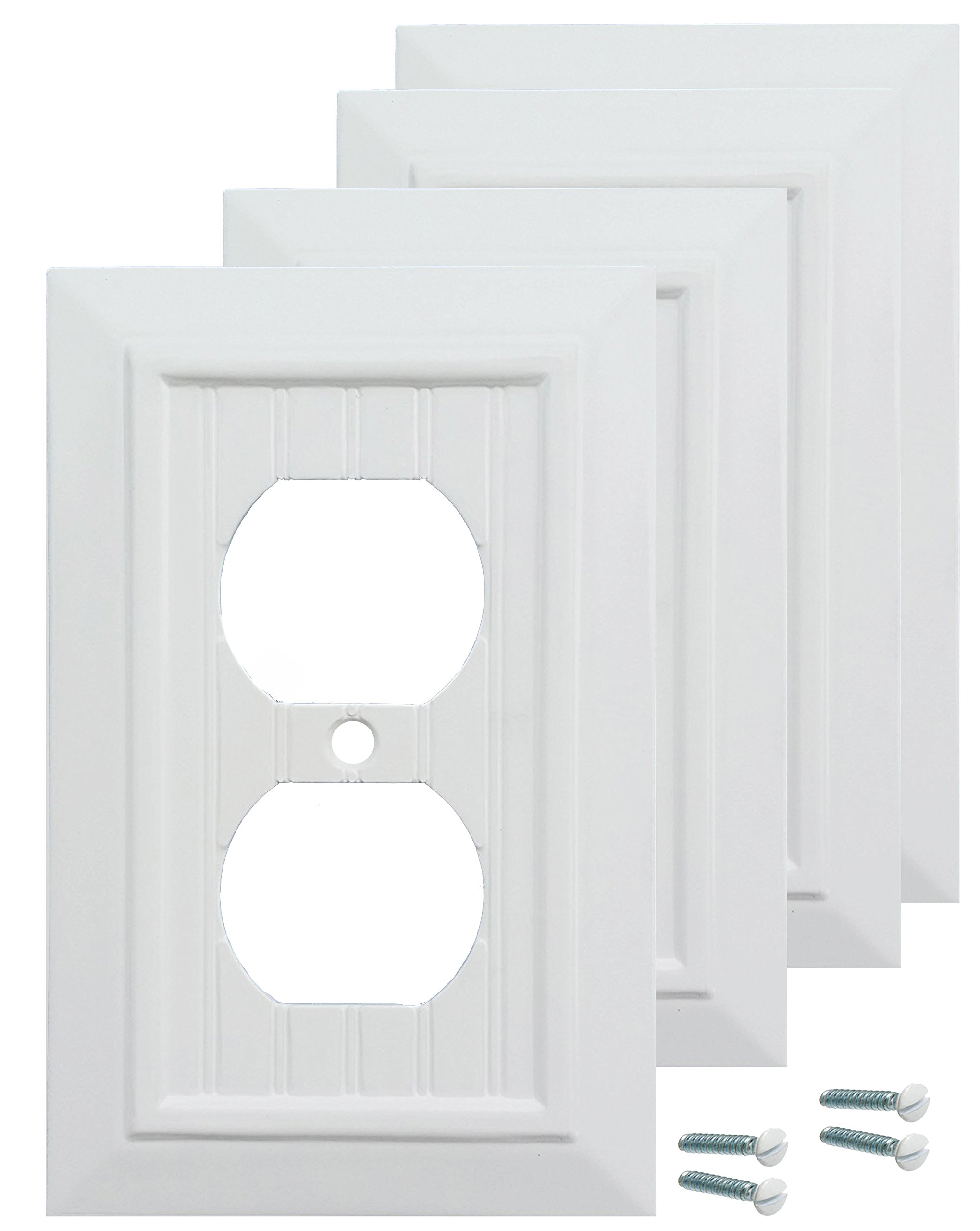 Pack of 4 Wall Plate Outlet Switch Covers by SleekLighting | Classic Beadborad Wall plates| Variety of Styles: Decorator/Duplex/Toggle/Blank/& Combo | Size: 1 Gang Receptacle