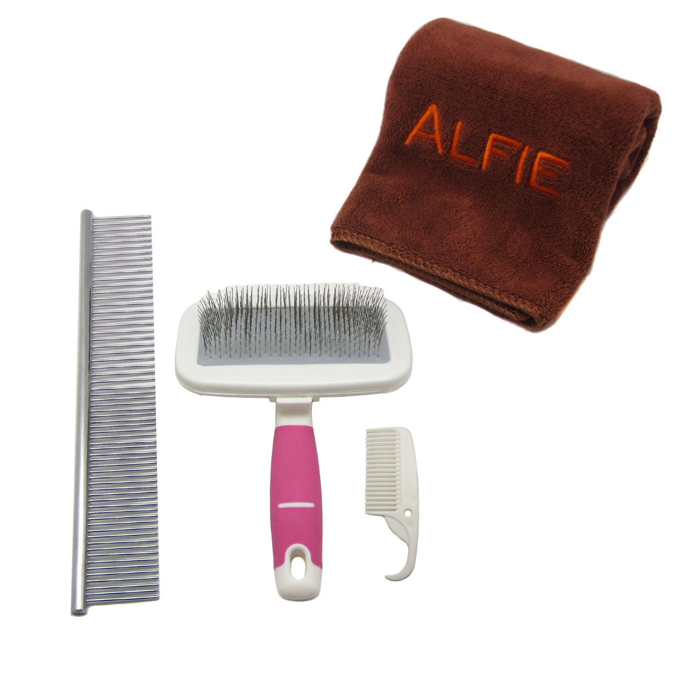 Alfie Pet by Petoga Couture - Kalin Soft Slicker Brush and Groomer Comb Set with Microfiber Fast-Dry Washcloth, Color: Pink, Size: Small