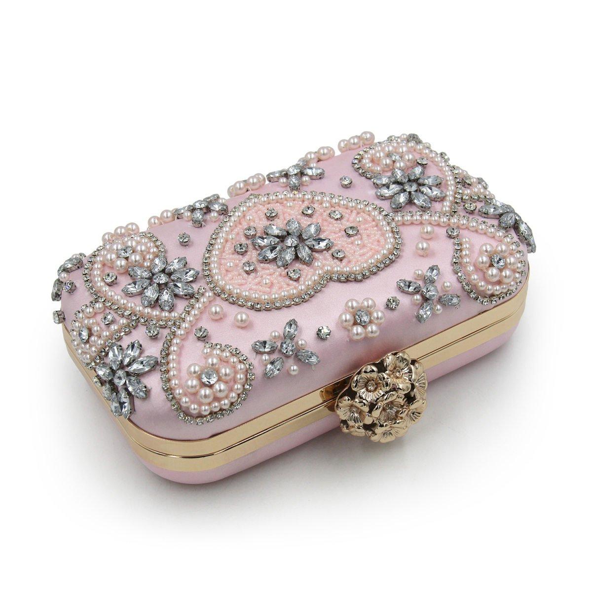 74701a1cac Nuovo A Forma Di Cuore Diamante Perla Borsa Da Sera Frizione Pacchetti Di  Alta Qualità Perline Matrimoni Damigelle D'onore Piccola  Cartella,Pink-OneSize: ...