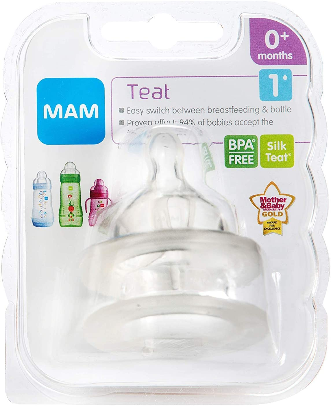 Fits all MAM Baby Bottles Suitable for 6+ Months MAM Cross-Cut Teats Pack of 2 Baby Feeding Essentials Bottle Teats with SkinSoft Silicone