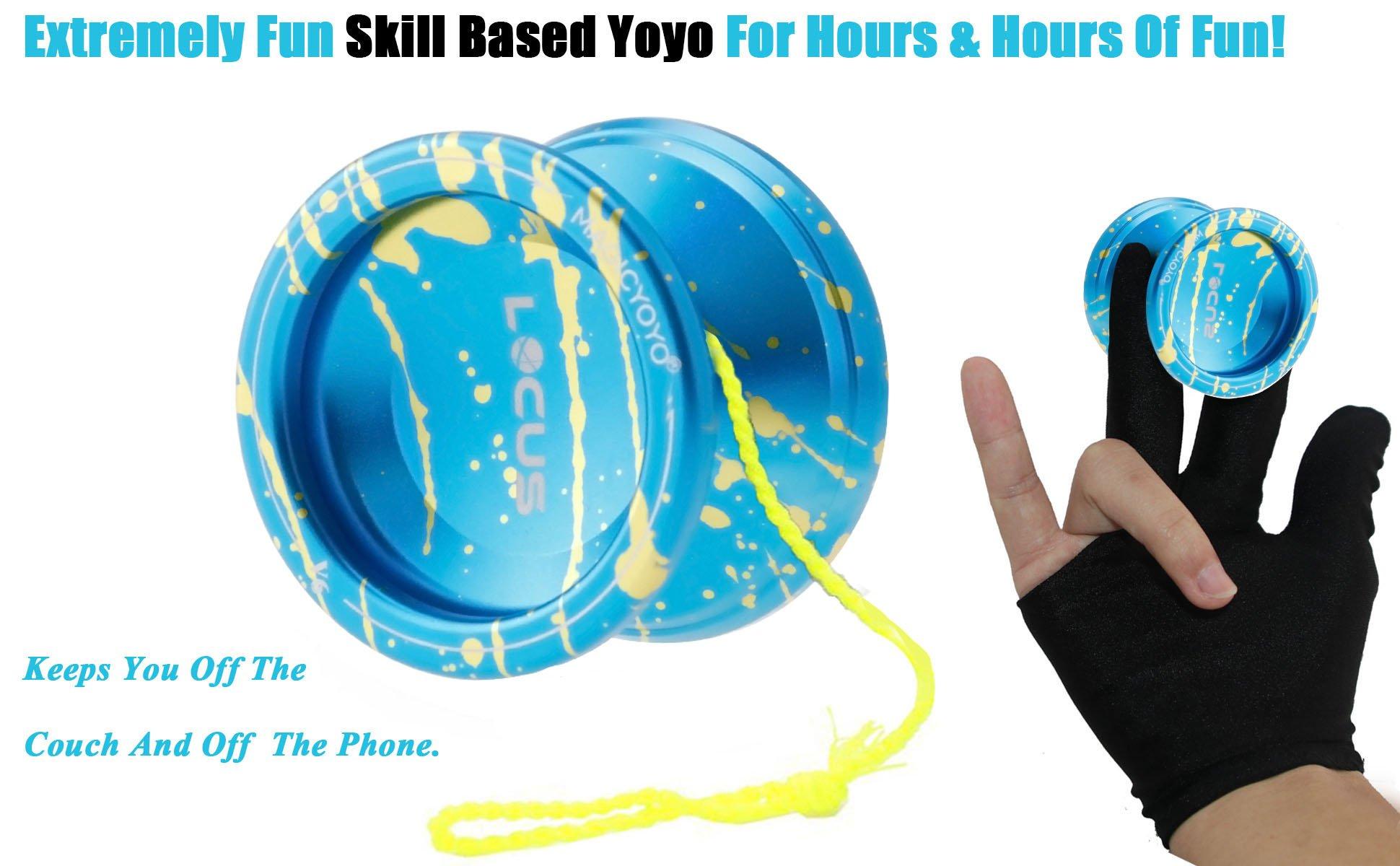 MAGICYOYO Responsive V6 Locus Aluminum YoYo Star Logo for Kids Beginner Learner with Yoyo Bag, Yoyo Glove and 5 Spinning Strings -Blue Splash Yellow