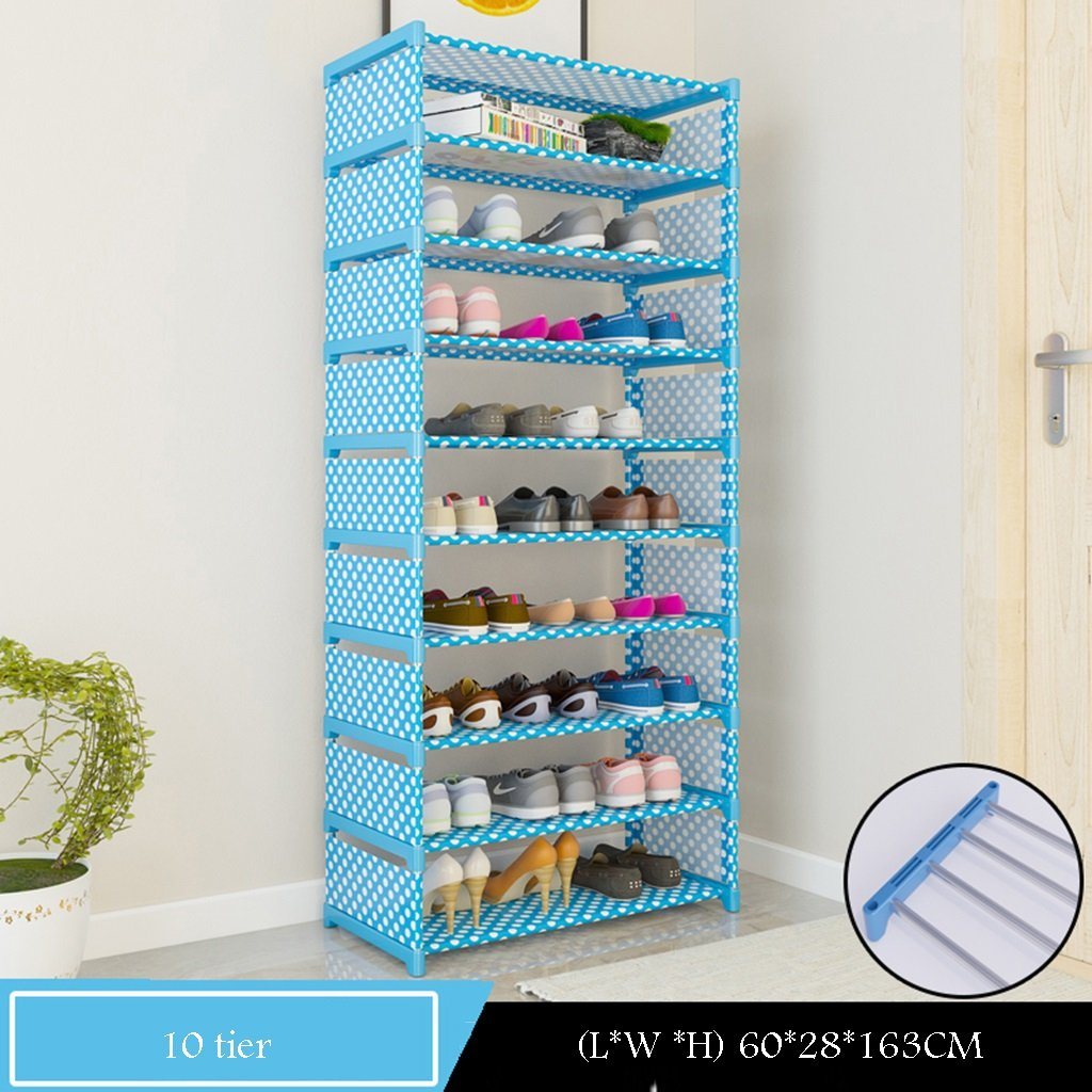 Stehen Sie Für Stiefel-Schuh-Hohen Schuh-Organisator-Speicher-Standplatz 10 Tier Für 30 Paar Schuhe Für Balkon-Eingang 60 * 28 * 163cm (Farbe : Blau) qiangzi