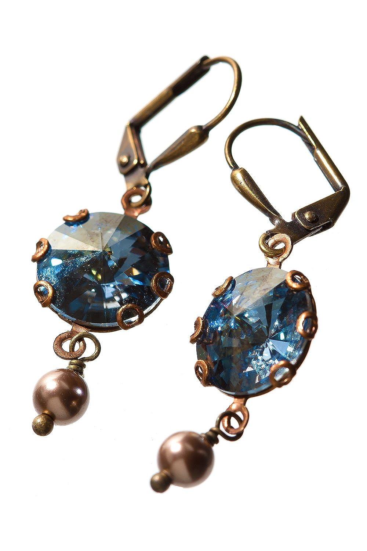 HisJewelsCreations Rivoli Crystal Simulated Pearl Round Stone Earrings