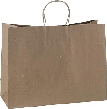 GSSUSA FACSCO 25 Pcs 16x6x12 Kraft Paper Handle Shopping Gift Merchandise Carry Retail Bags Natural