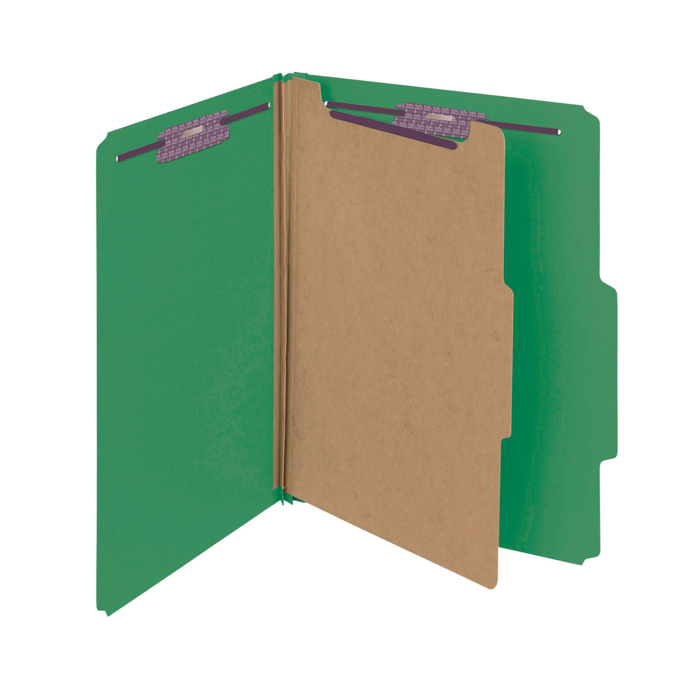 Smead Pressboard Classification File Folder with SafeSHIELD Fasteners, 1 Divider, 2'' Expansion, Letter Size, Green, 10 per Box (13733) by Smead