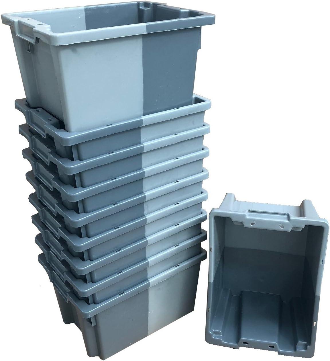 Pack de 10 x 16 litros gris pequeño apilado/nido 180º caja de almacenamiento de plástico contenedor caja de almacenamiento – 400 x 300 mm Euroapilable/resistencia industrial anidable: Amazon.es: Bricolaje y herramientas