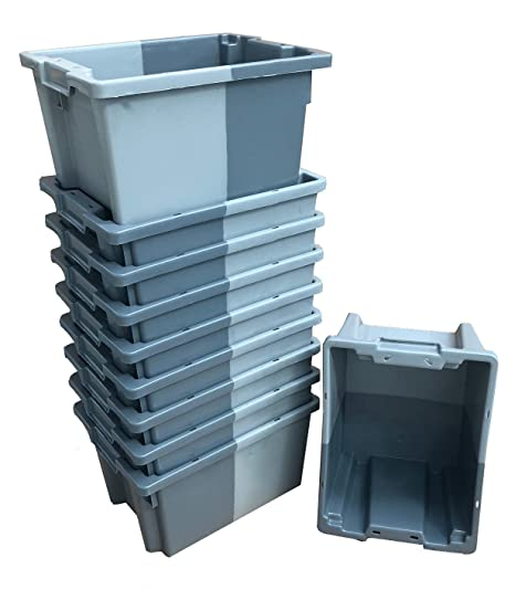 Pack de 10 x 16 litros gris pequeño apilado/nido 180º caja de almacenamiento de