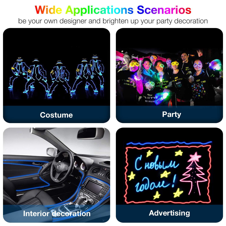 Disfraz de Carnaval Calabaza Covvy Cable LED Tira de Luces de Neon Flexible de 5 M Alimentado 3 Modos de Funcionamiento Perfecto para Decoraci/ón de Coche Fiestas