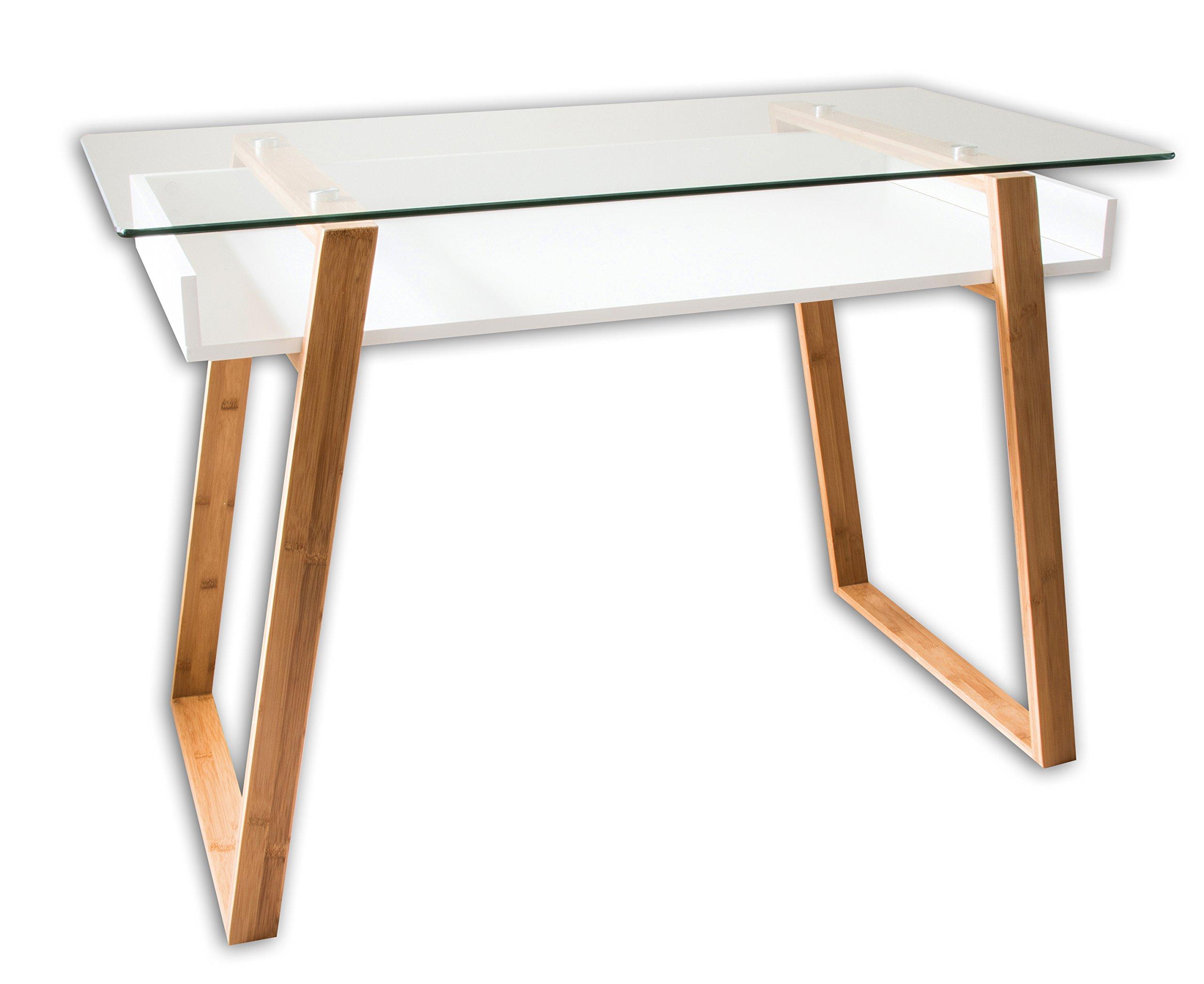 bonVIVO Writing Desk Massimo, Contemporary Desk Combining Glass and Wood, Modern Desk with Bamboo Legs and White Glazed Shelf, Usable As Computer Desk, Office Desk, Secretary Desk Or Vanity Desk by bonVIVO
