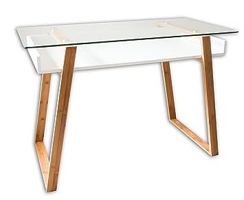 BonVIVO Designer Schreibtisch MASSIMO, Moderner Sekretär In Einem  Stilsicheren Materialmix Aus Glas, Naturholz